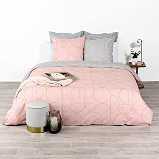 CÔTE DECO Parure de lit avec Housse de Couette 220x240 cm + 2 Taies d'oreiller 63x63cm Parure de lit pour 2 Personnes géom...