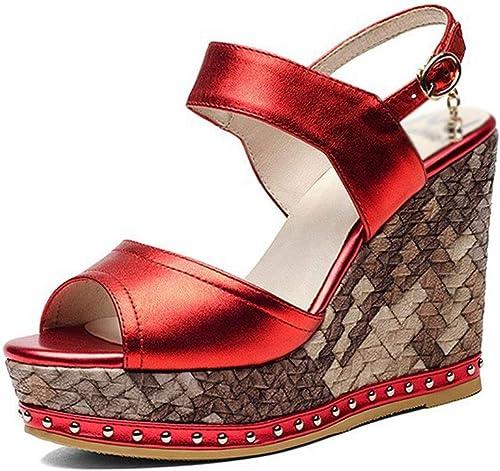 Sandales Femme été Sandales compensées Sexy Bout Ouvert Ouvert Bouche de Poisson Mode Simple Boucle en métal Ceinture Sandales compensées Pantoufles Sandales