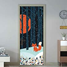 Etiqueta Autoadhesiva Para Puerta Yjlmt 3D Pvc Decal Diy Anime Fox Forest Snow Night Bedroom Wallpapers Decoración Para El Hogar Puerta Mural Renew Decal