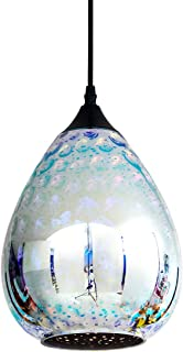 Modern Mini Pendant Light with Colored Hammered Glass Shade, 3D Reflection Glass Pendant Ceiling Lighting Fixture for Living Room Bedroom Kitchen Island Restaurant, 8in, Chrome