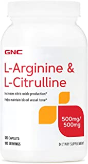 GNC L-Arginine & L-Citrulline 500mg/500mg, 120 Caplets, Increases Nitric Oxide Production