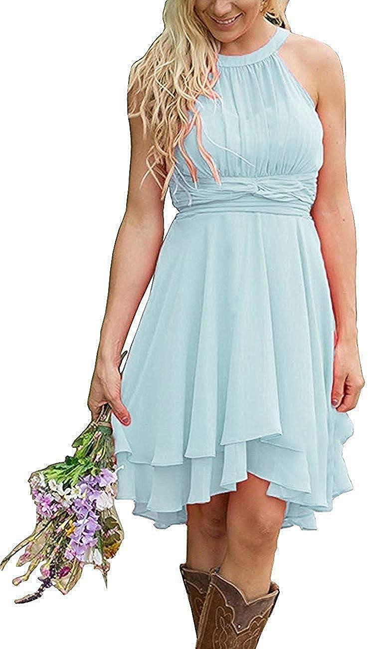 Erosebridal Short Bridesmaid Dresses Chiffon Halter Prom Dress Country Wedding Dress