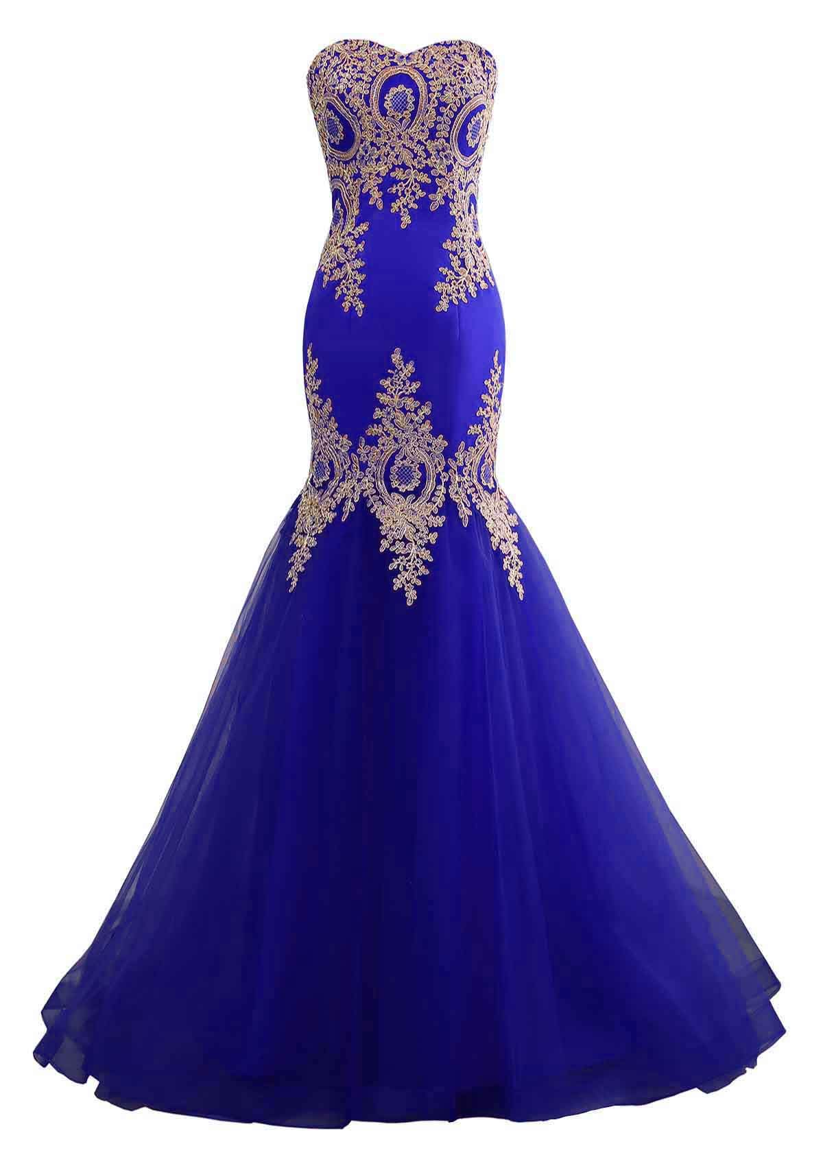 Available at Amazon: Changuan Mermaid Evening Dress for Women Backless Formal Long Prom Dresses with Embroidery
