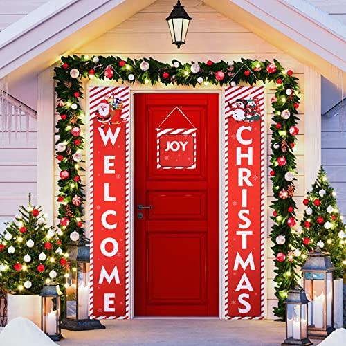 FORMIZON Banner de Navidad, Decoración de Puerta de Navidad Bienvenida, Tela Escocesa Roja Feliz Navidad Porche Signo, Colgantes Adorno de Navidad para La Pared del Hogar Puerta Delantera (3)