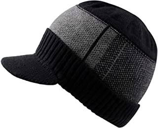 Winter Men Hat Knit Cable Visor Beanie with Fleece Lining Patchwork Stripe Newsboy Cap with Brim for Outdoor Sport