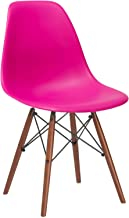 Poly and Bark Vortex Modern Mid-Century Side Chair with Wooden Walnut Legs for Kitchen, Living Room and Dining Room, Fuchsia