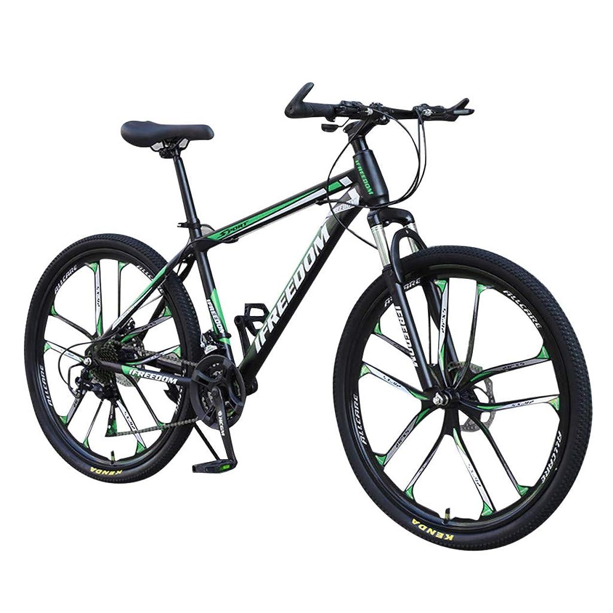 別の絞るコテージマウンテンバイク 男性用 女性用 26インチ 炭素鋼 自転車 スポーツ サイクリング 6スポーク 21スピード デュアルディスク ブレーキ 高引張強度スチールフレーム ATA 位置決めなしタワーホイール ブルー レッド グリーン ホワイト