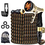 XBUTY Garden Hose Expandable - 2021 Upgraded Water Hose with Improved Anti-Leak System, 4-Layer Latex Tube, Premium 3750D Fabric, 9-Way Metal Sprayer, 3/4' Solid Brass Fittings, 50FT