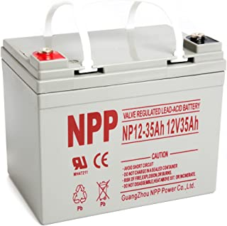 NPP NP12-35Ah Rechargeable AGM Deep Cycle 12V 35Ah Battery with Button Style Terminals
