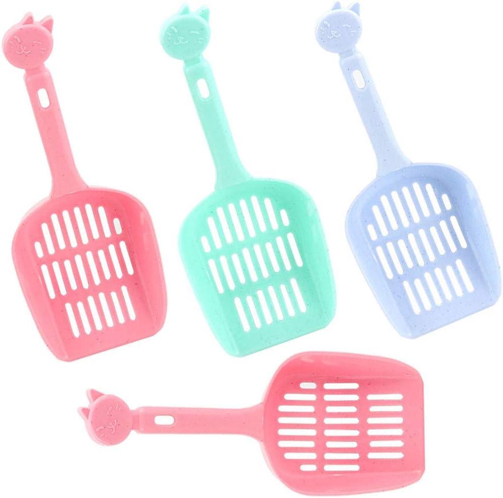 EIKLNN 4 Piezas Pala de Arena para Gatos, Herramienta de Limpieza para Mascotas Cuchara de Plástico, Cuchara para Gatos Litter Pala, para Mayoría de los Tipos de Arena para Gatos (Color Aleatorio)