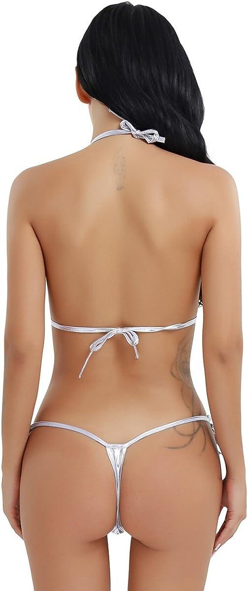TiaoBug Women's Metallic Sliding Top & Thong G-String Babydoll Bikini Swimsuit