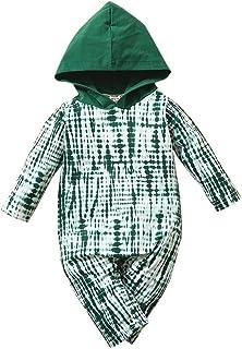 الرضع طفل الفتيان الفتيات التعادل صبغ مطبوعة مقنعين رومبير الوليد طويلة الأكمام بذلة الملابس (Color : Green, Size : 0-3 Mo...