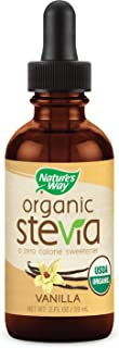 Nature's Way Organic Stevia zero calorie sweetener no bitterness, Vegetarian Non-GMO Vanilla, 2 Oz