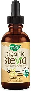 Nature's Way Organic Stevia zero calorie sweetener no bitterness, Vegetarian Non-GMO Vanilla, 2 Oz