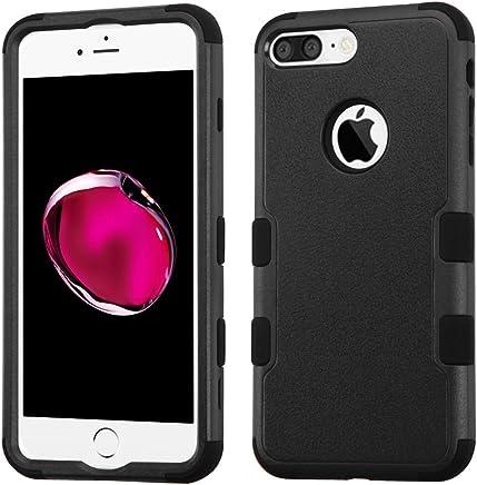 Funda Case para iPhone 7 Plus Doble Protector de Uso Rudo Funda Anti Impactos Resistente a Caídas (Negro)