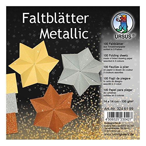 Ursus 3246199 Faltblätter Metallic, 100 Blatt Tonzeichenpapier 130 g/qm, 14 x 14 cm