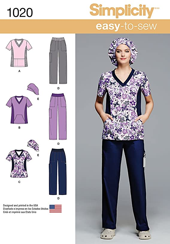 Simplicity Easy To Sew Scrubs Sewing Pattern For Women, Sizes 10-18