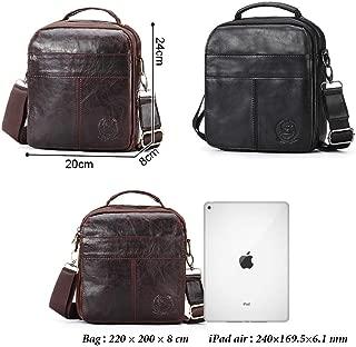Leather Bag Mens New Men's Bag Single Shoulder Bag Business Slant Bag Men's Retro Fashion High-end Handbag High Capacity (Color : Brown, Size : S)