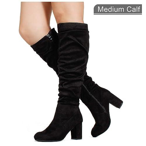 8e1fb33c95c RF ROOM OF FASHION Women s Medium Calf Chunky Heel Slouchy Knee High Dress  Boots Black SU