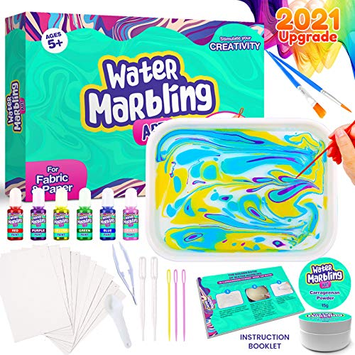 Peertoys Marbling Arts and Crafts Supplies - Spin Art DIY Marble Painting Kits Stem Toys Gifts Set Kids Adults Girls Boys Tweens with Water Tray Paint Brushes Papers for Ages 3 4 5 6 7 8 9 10 11 12+