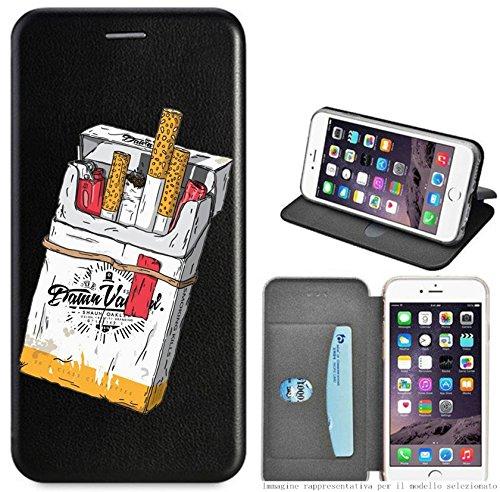 Mixroom - Custodia Cover Case a Libro con Stand in Ecopelle Parte Interna in TPU Morbida per iPhone 6 Plus Fantasia Pacchetto di Sigarette LB07