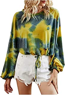 GUOCAI Womens Tie Dye Long Sleeve Drawstring Crop Top Blouse T Shirts