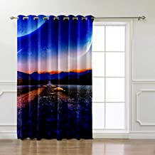 BJGCWY Blue Planet Expressway Living Room Bathroom Blackout Fabric Decor Kids Curtain Panels with Grommets Window Treatment
