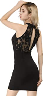 Women's Applique Embroidered Floral Lace Dress Keyhole Sleeveless Elegant Bodycon Party Dress