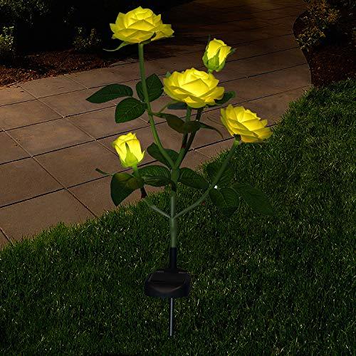 Neu Beleuchtung Außen Solarleuchte Garten, Solar Garten Lampen mit LED Rose Lichter, Dekoration Lichter für den Garten Rasen Terrasse Feld Weg,Gelb