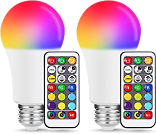 JandCase A19 E26 Color Changing LED Bulb, 10W RGB+Warm+Daylight White, 60W Equivalent, 900lm, 17 Colors Remote Control Bulbs, Dimmable Mood Lighting for Home, Party, Upcoming Christmas, 2 Pack