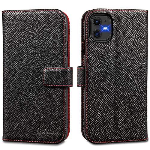 Jenuos Funda iPhone 11, Funda Libro de Cuero Genuino con Tapa Cartera Tarjetas y Cierre Magnético Soporte Protección Carcasa para iPhone 11 - Negro (11-EG-BK)