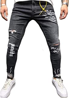 Musuos Men's Ripped Skinny Distressed Destroyed Straight Fit Side Striped Zipper Jeans with Holes
