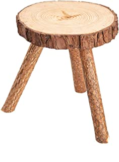 Asian Home Rustic Tree Trunk Slices Wood Three Legged Plant Stand, Vase Stand, Display Stand, Perfect for Home Decor in Any Room, Furniture (X-Small)