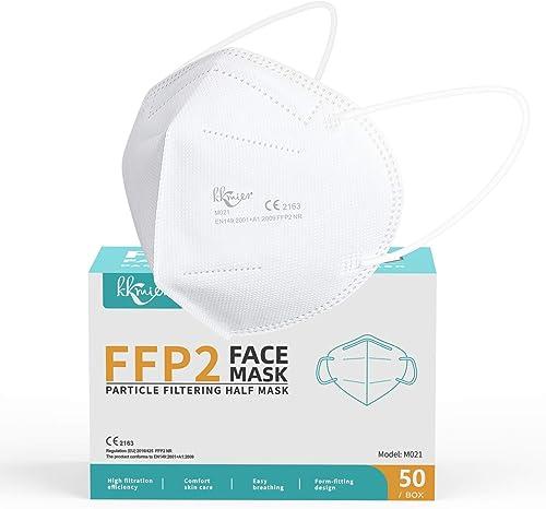 KKmier Masque FFP2, 50 pcs Masques ffp2 Jetables avec 2 Extensions du Masque et Pont de Nez Adaptable, 5 Epaisseurs d...