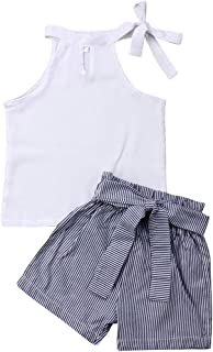 Merqwadd Toddler Baby Girls Sleeveless Pleated Crop Top+Striped Ruffle Shorts Outfits Summer Clothes Set (Chiffon Top+Pinstriped Short, 5T / 6T)