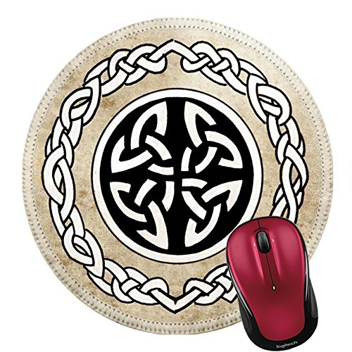 Liili Round Mouse Pad Natural Rubber Mousepad Celtic Shield Sketch of Tattoo Art Ornament Design Photo 13131356