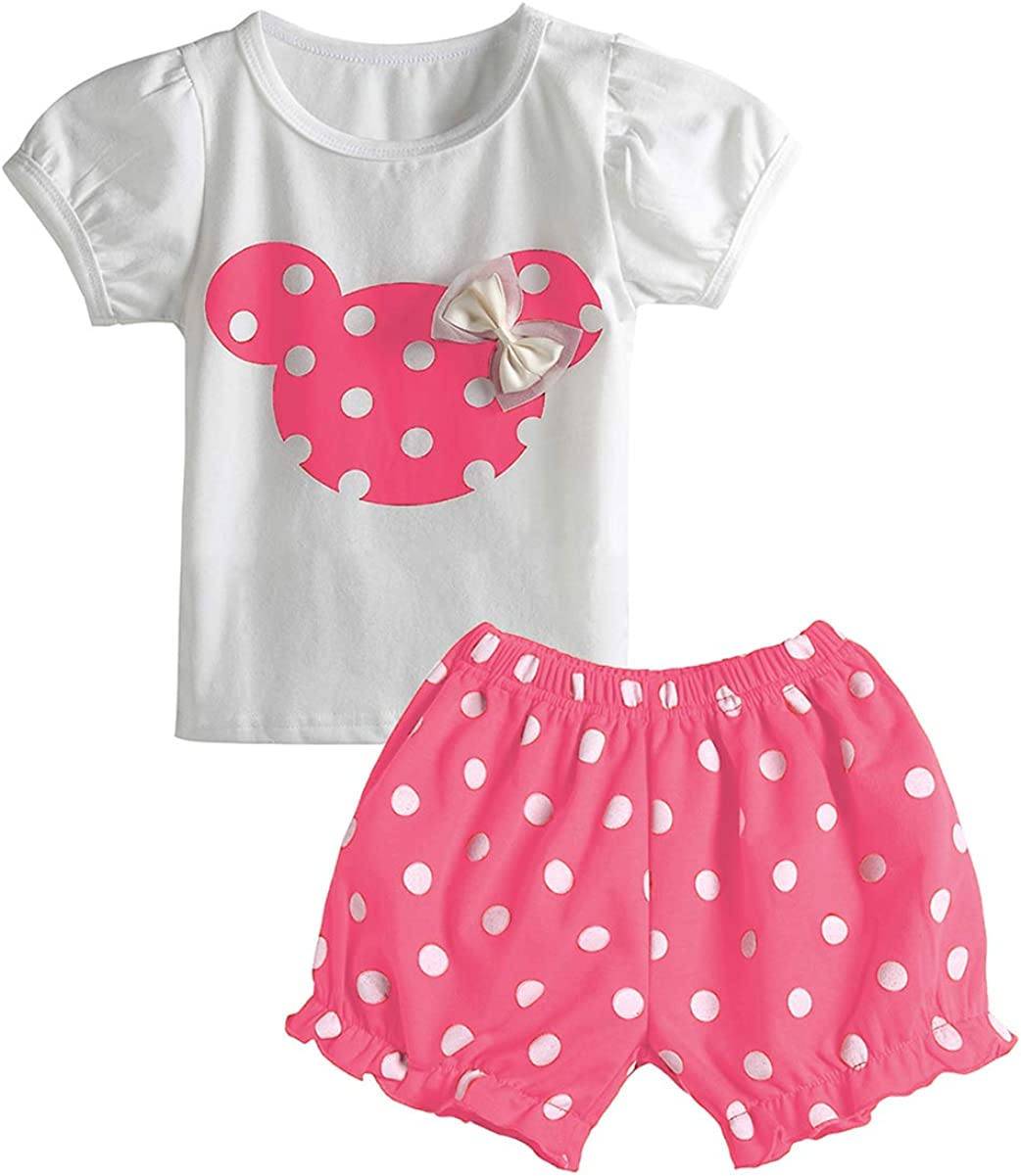 Cute Toddler Baby Girls Summer Clothes Set T-Shirt and Short Pants 2pcs Outfits