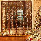Nekano Cortina de luces 3m x 3m 300 LED luz de cadena 8 modos de luces Impermeable interior /exterior para decoración Navidad, fiesta, hogar, jardín, boda [Clase de eficiencia energética A +++]