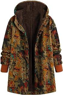 Women's Ethnic Style Hooded Coat Fleece Lined Print Button Jackets