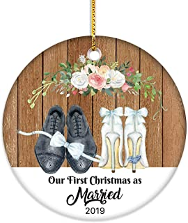 VILIGHT First Christmas as Married Ornament 2019-1st Xmas Gifts for Mr and Mrs Newlywed Couples - Bride and Groom Wedding Shoes 2.75 Inch Flat Circle Ceramic Decor with Tag & Gold Ribbon