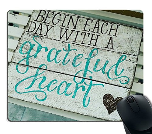 Smooffly Gaming Mouse Pad Custom, Begin Each Day with A Grateful Heart Quotes Rustic Turquoise Wood Design, Inspirational Bible Verse Scripture Quote Mouse Pads