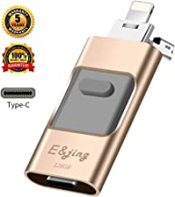 USB Flash Drive for iPhone_ E&jing iPhone Flash Drive 128GB Type C iPhone External Storage USB C 3.0 photostick Mobile for iPhone,Android Type C,PC Photo iPhone Picture Stick (Gold)
