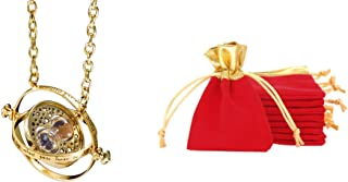 KalematStore Necklace of Harry and Hermione Rotating Hour Glass, Gold Sand in Red Velvet Pouch