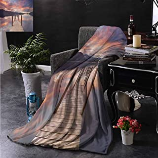 Khdkp Travel Blanket, Ultra-Soft Luxurious Warm, Landscape, A Flooded Jetty in Derwent Water Lake District England Sunset Morning Photo, Bed Blanket - 50