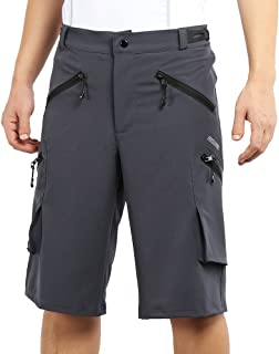 ARSUXEO Men's Loose Fit Soft Cycling Shorts MTB Mountain Bike Shorts Light Weight No Pad 1705