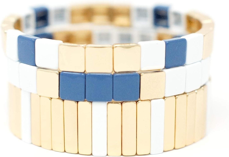 Cedar & Ink Enamel Tile Stackable Bracelet - Stretch Tila Color Block - Rectangle Square Dome Oval Arrow