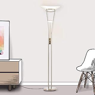 Lightbox Lampadaire LED à intensité variable avec liseuse, 1 LED 18 W intégrée, 1 x 2200 lm, 3000 K, métal/verre, fer/blanc