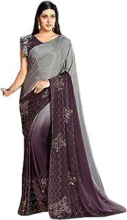 Designer Indian wine grey Cocktail Party Swarovski Embellished Saree Blouse Woman Sari 6584