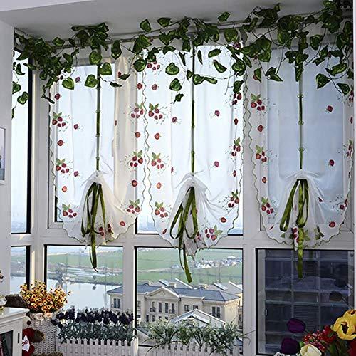 Romeins gordijn vlinder borduurwerk - hefbaar voile lint gordijn vastbinden met stangzak - semi-transparant ballon gordijn voor keuken balkon badkamer