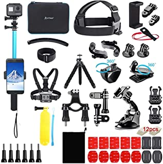 Artman Action Camera Accessories Kit 60-in-1 for Gopro MAX GoPro Hero 9 8 7 6 5 Session 4 3+ 3 2 1 Black Silver SJ4000/ SJ...